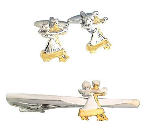 Unbekannt Set Tanzpaar Krawattenklammer + Manschettenknöpfe Bicolor glänzend inkl.Geschenkbox