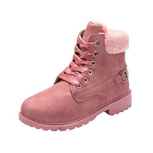 LaoZan Oversize Damenstiefel Martin Stiefel Warme Stiefeletten Gefüttert Schnüren Schneeschuhe (Pink, Größe 39)