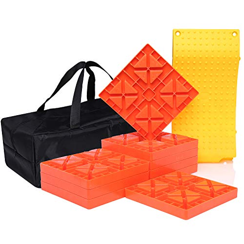 Homeon Wheels Camper Leveling Blocks, One Top Tire Saver Ramps and 9 Pack Interlocking Leveling Blocks with Carrying Bag, Heavy Duty Rv Leveling Blocks and Chocks Anti-Slip Pads Design (WH-201)