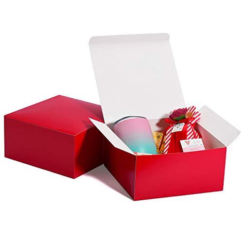 HOUSE DAY Scatole Regalo Scatole Regalo 20x20x10cm per Damigelle d'Onore 10Pack Scatole Regalo Kraft Bianche con Coperchio per la creazione, Scatole per Cupcake (Rosso)