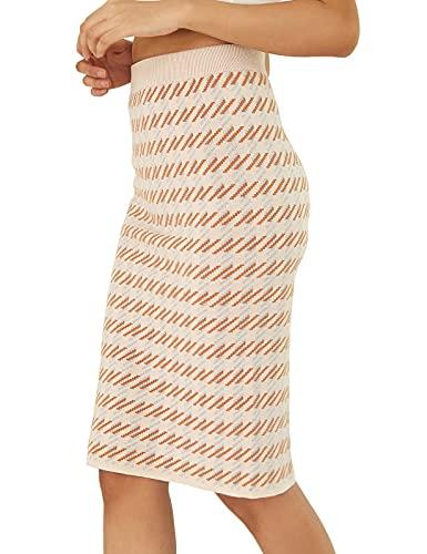 Kate Kasin Women Elegant Bodycon Midi Stretchy Knit Plaid...