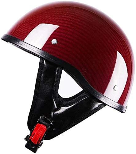 HSFJFDRT Casco de motocicleta retro para hombres y mujeres, casco de moda con diseño de calavera, certificado DOT, para adultos, de cara abierta, de 55 a 60 cm
