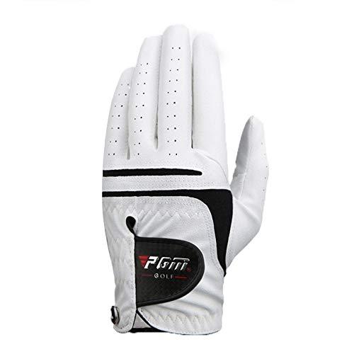BANGHA Guantes De Golf Tamaño de la Mano Izquierda Super Fino paño Blanco Suave 1 PC Transpirable Guante de Golf de los Hombres de Accesorios de Golf Golf Guantes (Color : Left Hand, Size : 25)
