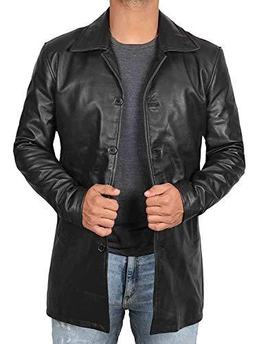 WenVen Men's Stand Collar Leather Jacket Motorcycle Coat Black M
