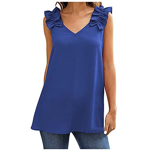 BUDAA Camiseta sin mangas para mujer, cuello en V, hombros con volantes, flor delantera y trasera, S-2XL