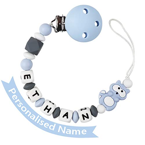 Soporte para chupete, mordedor personalizado con nombre, clip de cadena para chupete de bebé azul, clip de silicona para chupete para niñas