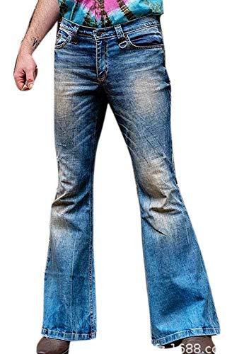De los Hombres Lavado a la Piedra Bengalas Campanas Pantalones Vaqueros Hippie Indie Pantalones Acampanados