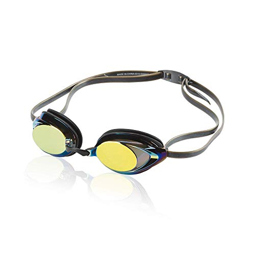 Speedo Unisex-Adult Swim Goggles Mirrored Vanquisher 2.0 Deep/Gold One Size