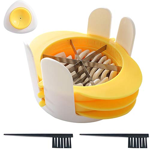 feihao Cortador de Huevos, ortador De Huevos,Rebanador de Huevo 3 in 1,para 3 estilos de rebanado,con Cepillo de Limpieza y Rompe huevos