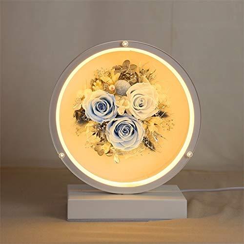 HUAYE Valentinstag Ewiger Blumen-Glasschirm Finished Weihnachten Stil bunten LED-Nachtlampen-Tabellen-Lampen-Nachtlicht Kreatives Geschenk (Gray) (Color : Blue)