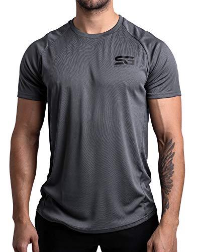 Satire Gym – Muscle Fit Sportshirt Herren/Eng sitzendes & schnell trocknendes Sport Mesh-Shirt/Sportbekleidung für Herren - Geeignet als Fitness- & Bodybuilding Shirt (M, anthrazit)