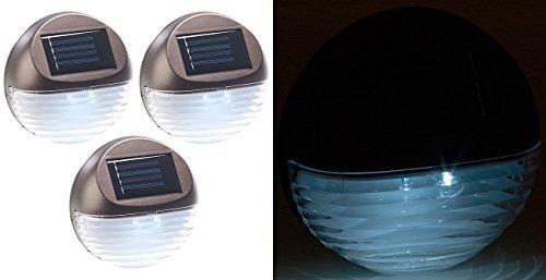 Lunartec Solar Treppenbeleuchtung: 3er-Set Solar-LED-Zaunleuchte für Hauswand & Treppe, Lichtsensor, IP44 (Treppenbeleuchtung außen Solar)
