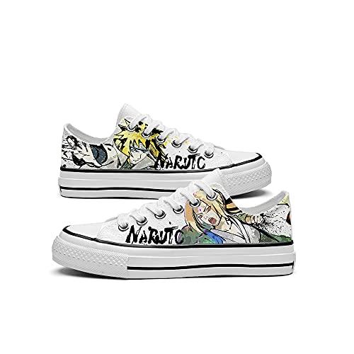 JPTYJ Naruto Namikaze Minato Character Sketch Hand Drawn Zapatos de Lona Zapatillas de Deporte Zapatos Unisex con Cordones Anime Cosplay Zapatos Casuales A-40