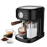 JZlamp Máquina de café Espresso, máquina de café de 19 Barras con Varita de Leche espumosa, cafetera con Tanque de Agua extraíble de 1,5 l para café Espresso, Capuchino, Latte, machiato