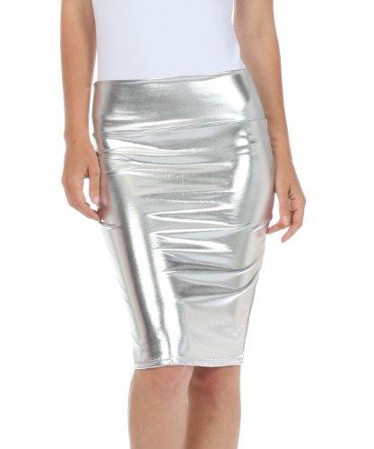 Sakkas 2695 Women's Shiny Metallic Liquid High Waist Pencil Skirt - Silver - Medium