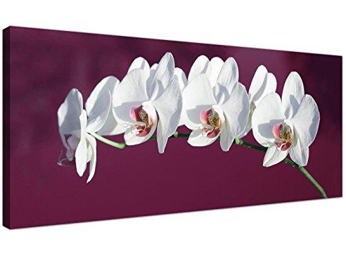 Lienzo decorativo WTD 1116 de Wallfillers, diseño de orquídeas blancas, para pared, color morado...
