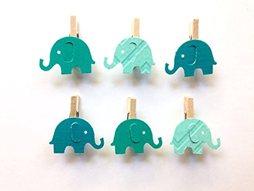 Sweet Thymes Teal Elephant Clothespins Baby Shower Decoration Don't Say Baby Game Clips 12 Pins Boy Diaper Cake Wedding Party Favors Drink Marker Place Card