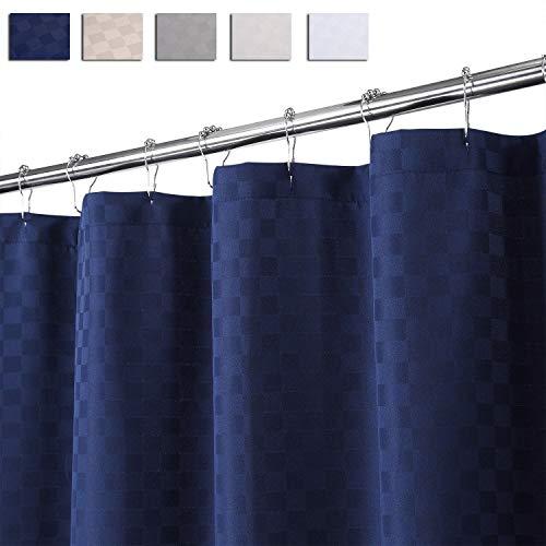 LinTimes Cortina de Ducha, 190GSM, Resistente, Gruesa, de Lujo, de Poliéster, Baño, Cortina de Ducha Lavable, 183 X 198 cm, Azul Marino