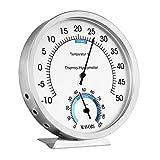 MAVORI® Thermometer analog und Luftfeuchtigkeitsmesser - Thermometer Hygrometer aus hochwertigen Edelstahl - Batteriefrei für eine umweltfreundliche und zuverlässige Raumklima Kontrolle
