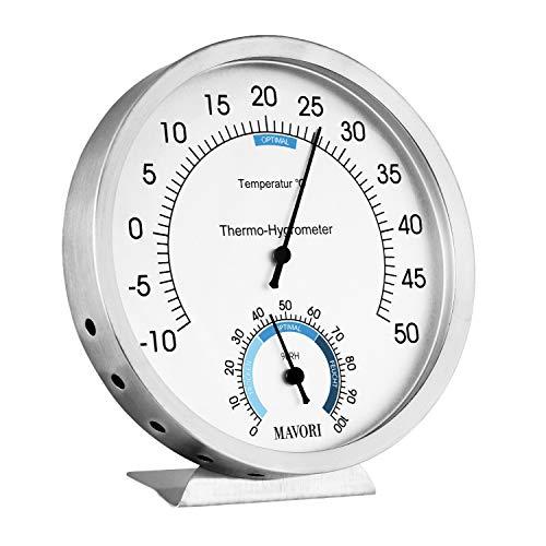 MAVORI® Thermometer analog und Luftfeuchtigkeitsmesser | Thermometer Hygrometer aus hochwertigen Edelstahl | Batteriefrei für eine umweltfreundliche und zuverlässige Raumklima Kontrolle