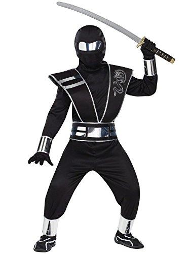 fancy dress warehouse Costume de ninja pour enfant avec miroir argenté Taille L