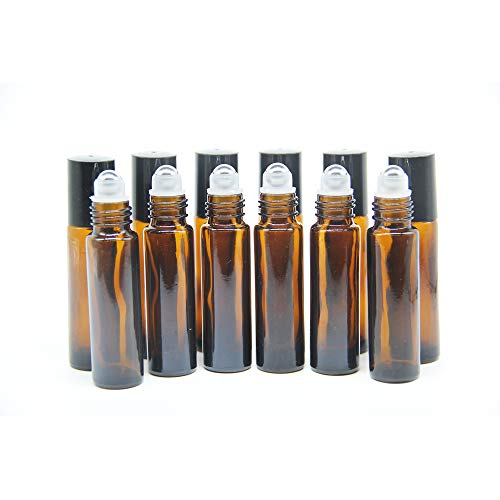 Yizhao Marrón Botellas Roll On Cristal para Aceites Esenciales 10ml, con Roll-on Bola de Acero Inoxidable, para Aceites Esenciales, Masajes, Aromaterapia, Botella de Laboratorio – 36 Pcs