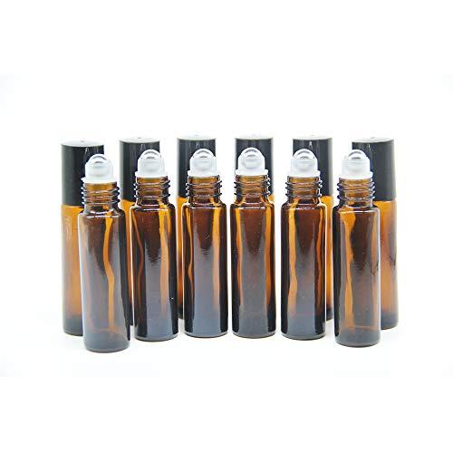 Yizhao etherische olie 10ml bruin glas Roller flessen, lege olie Roller Ball glazen fles voor essentiële olie, massage, Beauty Oil mix, Lab fles met [RVS Roller Ball]– 6 stuks 36 BRON