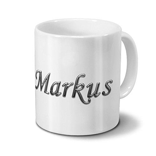 Tasse mit Namen Markus - Motiv Chrom-Schriftzug - Namenstasse, Kaffeebecher, Mug, Becher, Kaffeetasse - Farbe Weiß