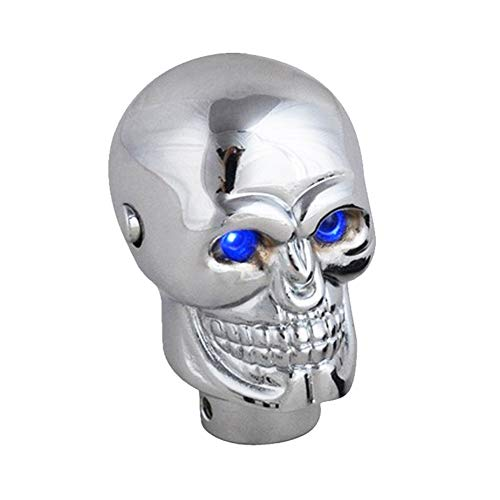 Wangtao Store 2019 Tender Personalidad Novela Coche ENGRANSAMIENTO MANDARIO Skull LED Azul/Rojo LUZ DE LA LUZ MANDARIO MANDARIO ALOYO DE Aluminio Cambio de la Palanca Más Hermosa