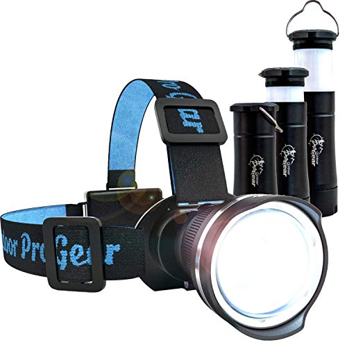 LED Headlamp - Camping Lantern & Flashlight - The Best & Only Camping Hiking Backpacking Outdoors Set You'll Ever Need Super Bright High Lumen Headlight. Flashlight Telescopes Into Tent Light (BLACK)