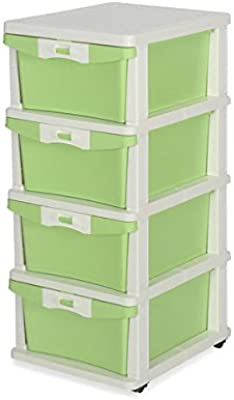 Nilkamal CHTR24 Four Layers Plastic Cabinet Green Rectangular 14x17x32