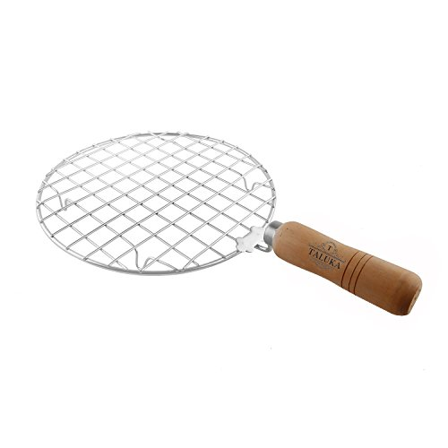Taluka Stainless Steel Round Wooden Handle Jali Papad Maker Roti Roaster (Diameter : 7.6-inch)