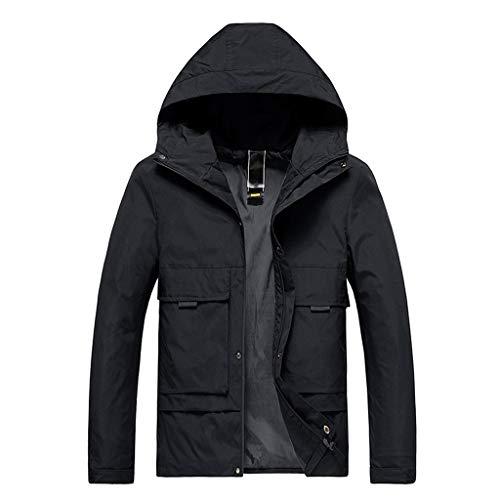 MAYOGO Herren Regenjacke Herren Light Langarm Jacke Windbreaker Coole Jacke Mit Kapuzen Streetwear Freizeitjacke mit Reißverschluss (Schwarz, L)