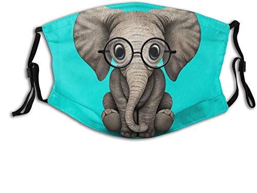 Cute Baby Elephant Face Mask with Filter Pocket Washable Face Bandanas Balaclava Reusable Fabric Mask for Men Women