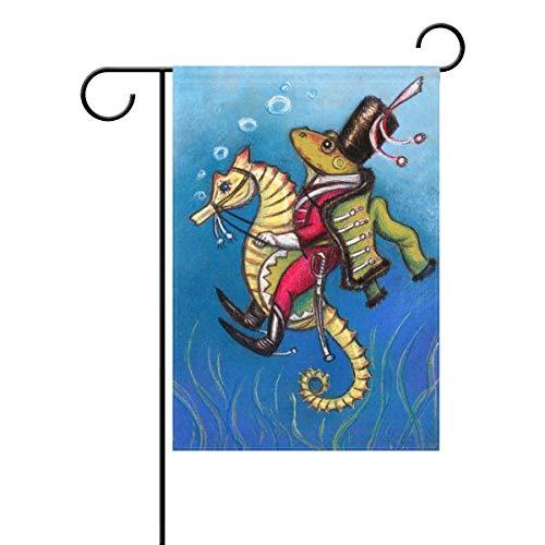 JiaMa Duble Sided Hand Draw Frog Riding on Seahorses Fairytale Blue Ocean Seafloor Polyester Garden Flag Banner 12 x 18 Inch for Outdoor Home Garden Flower Pot Decor