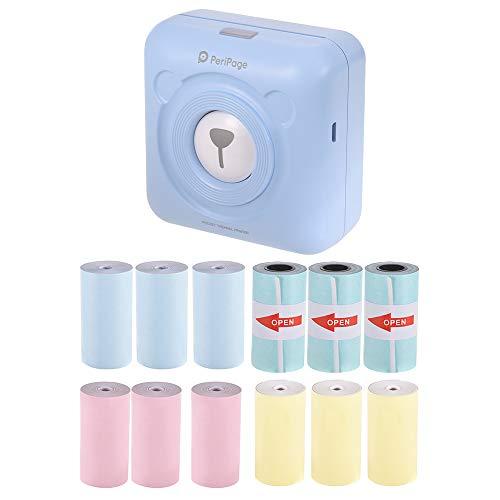 Aibecy PeriPage Mini Pocket Draadloos BT Thermoprinter sticker afbeelding Memo Recibo papier printer + 9 thermorollen + 3 rollen plakband 57 x 30 mm blauw