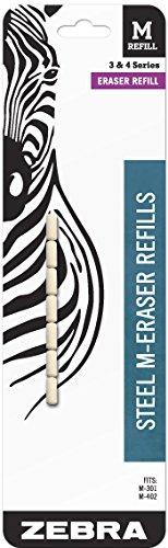 Zebra Steel M Mechanical Technical Pencil Eraser Refills 7-Count