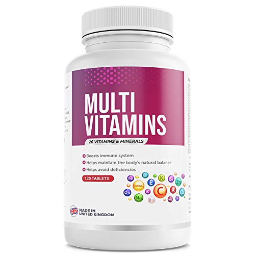 A to Z Multivitamins & Minerals - 26 Vitamins & Minerals for Men & Women - 120 Capsules (Up to 4 Months Supply) - Made in UK