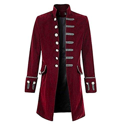 mioim Punk Jacke Steampunk Gothic Langarm Jacke Retro Mittellang Mantel Kostüm Cosplay Uniform für Männer Weinrot M