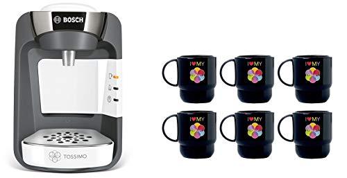 Bosch Tassimo Suny weiss TAS3204 Kaffeemaschine Kapselmaschine Multi-Getränke-Automat 1300 W (Weiss + 6 Tupperware Becher)