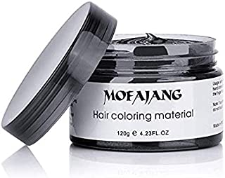 MOFAJANG Black Hair Color Wax Temporary Hairstyle Cream 4.23 oz Hair Pomades Natural Hairstyle Wax for Kids Men Women Party Cosplay Date Haloween (Black)