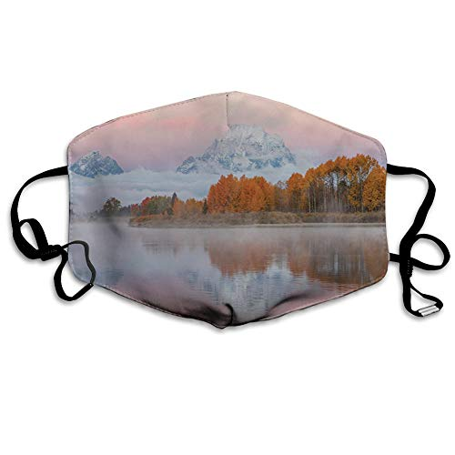 Mouth Cover for Women,Face Mask Reusable Washable Cloth for Men Mountains Scenery Misty Nature View Forest Lake Reflection