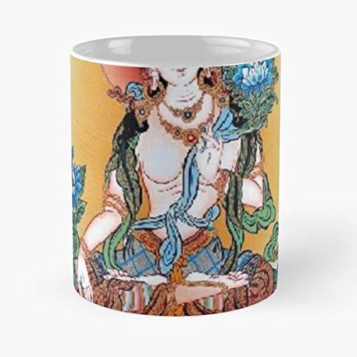 worldbrand Thangka Tibetan White Oriental Tara Cool Tibet Tattoo Taza de café con Leche 11 oz