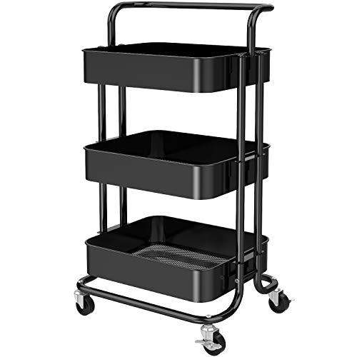 Pipishell, carrello a 3 ripiani, in metallo, con maniglia e ruote bloccabili, multifunzione, per cucina, soggiorno, ufficio, colore: nero