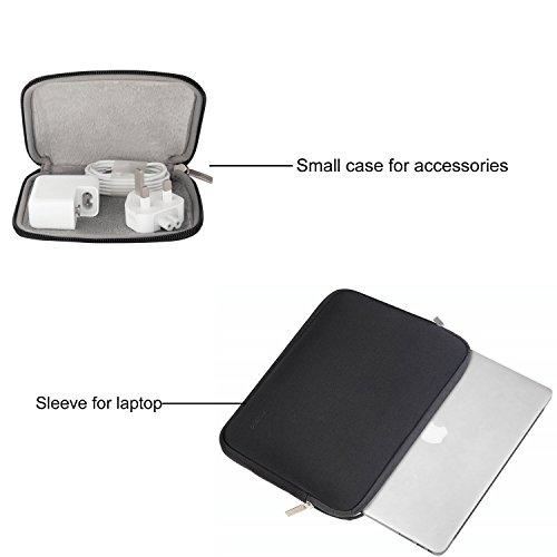 MOSISO Laptop Sleeve Kompatibel mit MacBook Air 13 A2337 A2179 A1932 2018-2020,MacBook Pro 13 A2338 A2251 A2289 A2159 A1989 A1706 A1708,Wasserabweisend Neopren Tasche mit Klein Fall,Schwarz