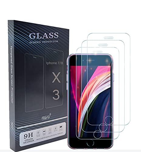 UNO' Protector Pantalla 3 Unidades, Protector Pantalla Cristal Templado Compatible Con Iphone 7 Y Iphone 8 Vidrio Templado Hd Apto Para Iphone 7 Y Iphone 8.