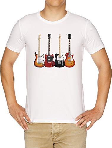 Cuatro Eléctrico Guitarras Camiseta Hombre Blanco