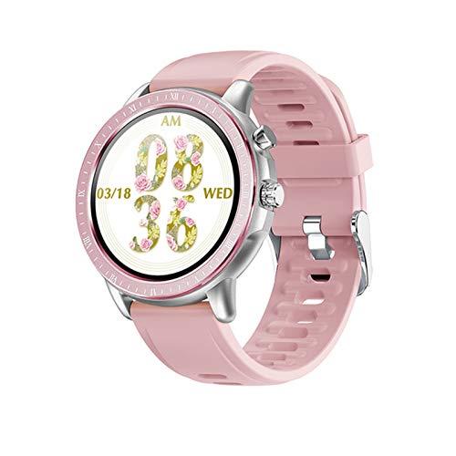 Ake Nuevo S02 Smart Watch para Mujeres y Hombres 1.3 Pulgadas Táctil Completa Pantalla Redonda Monitor de Ritmo cardíaco Rastreador de Fitness Reloj Inteligente,D