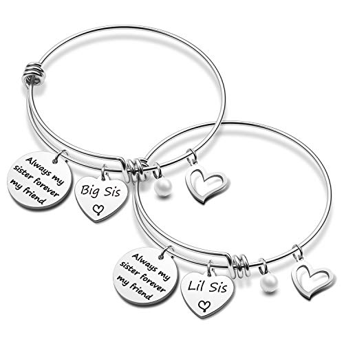 Sister Bracelet Gift Always My Sister Forever My Friend Sister Bracelet Set Sister Gift for Big sis Mid Sis Lil Sis (Friend 2 Sister BR)
