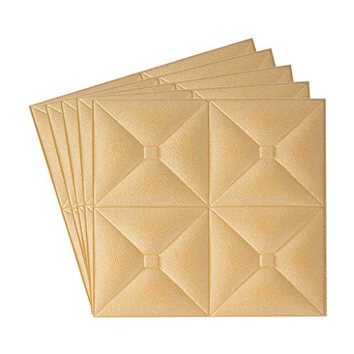 Fugift Home Decoration Stickers 3D Wandpaneele 5er Pack, Wandpaneele für Innenwanddekoration, selbstklebend, wasserdicht, Schaumstoff Wandfliesen Holz für TV Hintergrund Wände Schlafzimmer (Gold)
